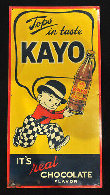 VTG Kayo Chocolate Soda Drink Embossed Metal Advertising Sign