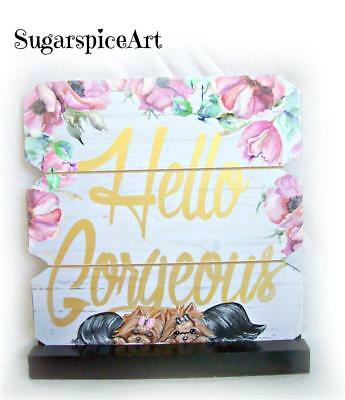 Yorkie Hand Painted Valentine Wood Plaque Decor by SugarspiceArt