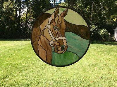 "20""Dia Round Horse Head Tiffany Style Stained Glass Suncatcher Panel"
