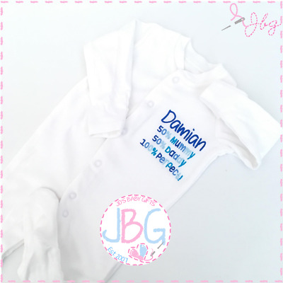 Personalised Baby Slogan Sleepsuit, Embroidered Baby Boys Rompersuit Clothing