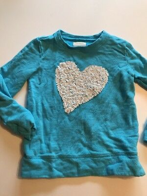 Crewcuts Girls Sequin Heart Sweater Size 6-7 Euc