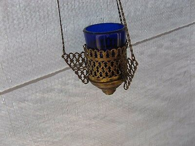 Russian,Lamp for Icon, Lampadka Orthodox Antique old bronze with blue Glass