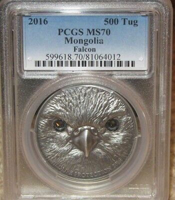 2016 Mongolia Falcon 500 Tug 1 oz. Silver coin. PCGS MS70 Swarovski eyes scarce!