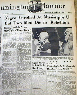 2 1962 newspapers JAMES MEREDITH 1st NEGRO Admitted ToUNIV OF MISSISSIPPI Oxford