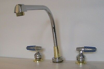 VTG DELTA WATERFALL KITCHEN FAUCET w/ SPRAY CHROME POLISHED BRASS 2276 CB RH NOS