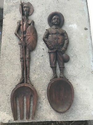 Don Quixote & Sancho Panza Hand Carved Large Wood Fork & Spoon Wall Hangings