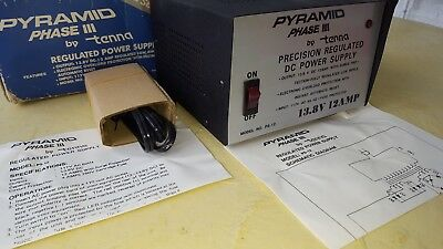 PYRAMID PHASE III PS-12 13.8 VT 10AMP Precision Regulated DC Power Supply Tenna