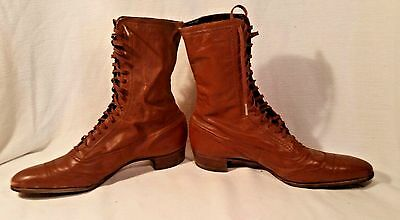 Antique Ladies Leather Boots Lace-up Brown Calf Length Vintage Fashion Footwear
