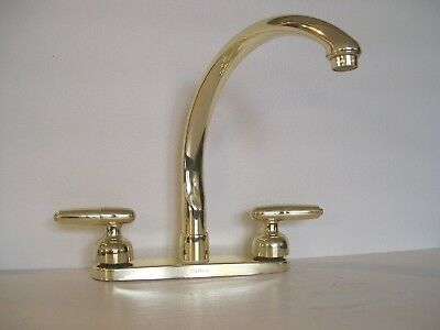 VINTAGE DELTA WATERFALL KITCHEN FAUCET w/ SPRAY POLISHED BRASS 2476 PBLHP - NOS