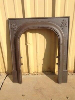 Antique Cast Iron Fireplace Surround Arched With Crest Motif ***sale***