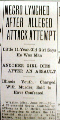 <1935 newspaper NEGRO MAN LYNCHED @ Wiggins MISSISSIPPI after Rape attempt White