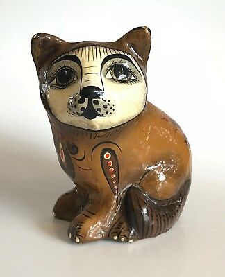 Vintage Signed Sermel Tonala Jal Mexico Paper Mache Mid Century Folk Art Cat