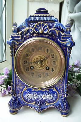 STUNNING ANTIQUE FRENCH COBALT BLUE PORCELAIN CHIMING MANTLE CLOCK c1870