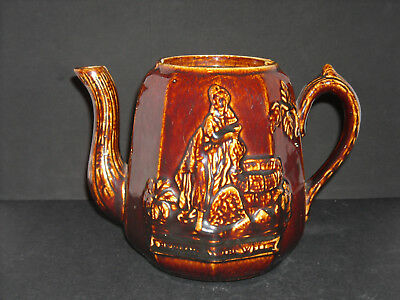 Large Early Rockingham Glazed Yellow Ware Tea Pot Rebecca at the Well