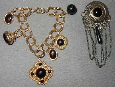 Mixed Lot Vintage Black & Gold-Tone Bracelet Brooch Pin Antiqued Brass Plated