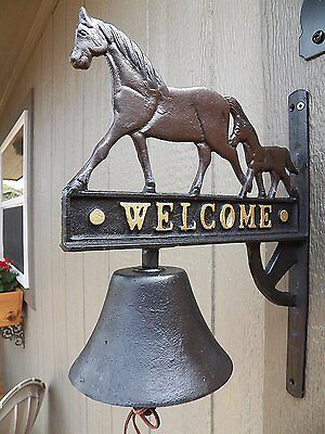 Antique-Style Cast Iron Hand Painted Horse Welcome Motif BELL Dinner Windchime
