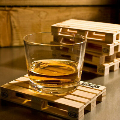 4pcs/set Rectangle Mini Wooden Pallet Coaster Set Whiskey Wine Glass Cup Mat Pad