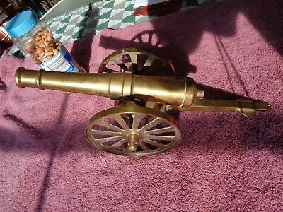 "Large Vintage 15.4"" Brass Cannon Fuse Hole Barrel 10"" is very Heavy 3lbs. 4oz."