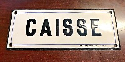 Antique French Enamel Street Sign, gate plaque street plate CAISSE, Raeymaekers