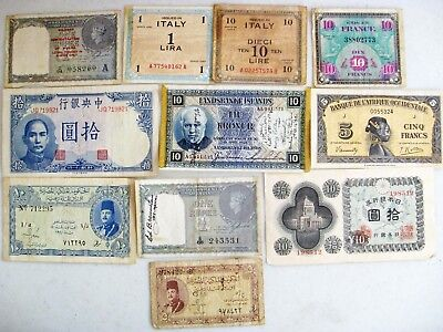 e87i LOT OF 11 PIECES WORLD WAR II ERA CURRENCY INDIA / BURMA MILITARY 1 RUPEE