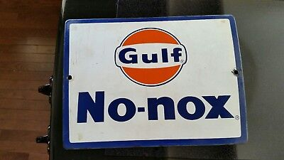 Vintage Original Porcelain Gulf No-nox Pump Plate Sign