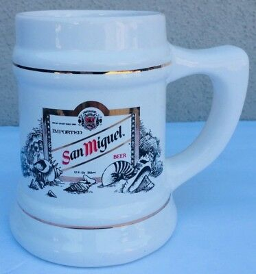 Vtg SAN MIGUEL BEER Philippines PINOY Filipino GOLD TRIM MUG CUP STEIN CARDINAL