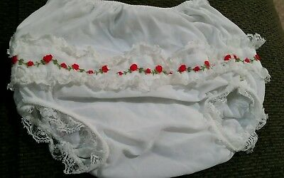 Vintage Alexis diaper cover Baby White Floral Lace Sz Small 10-13 lbs
