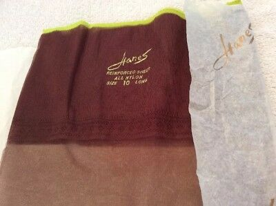 Vintage Hanes Pair Size 10 Long Driftwood Reinforced Sheer All Nylon Stockings