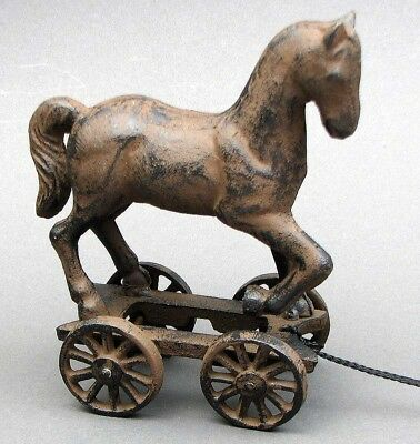 VIntage-Style Rustic Cast Iron Pony Horse Pull Toy On Wheels Victorian-Replica
