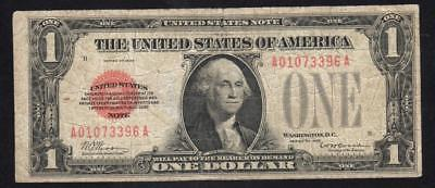 1928 $1 LEGAL TENDER NOTE Fr 1500 RED SEAL  A01073396A