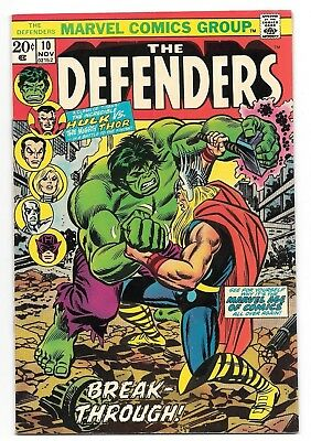 Defenders #10 VF+ High Grade Key Issue Hulk vs. Thor Marvel Bronze Age Comic