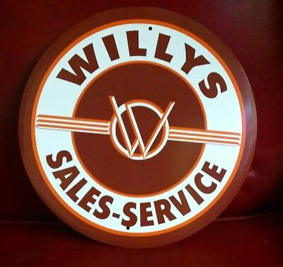 WILLYS SALES - SERVICE Round Metal Sign Repro