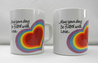 The Love Mugs - Set of 2 Rainbow Heart Cups - Easter 1983 by Avon