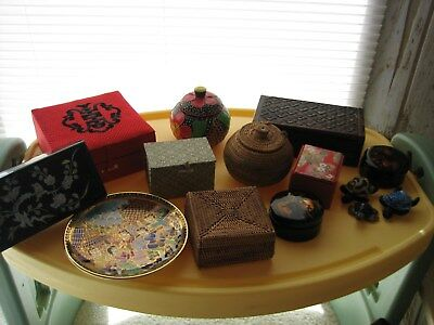 lots of Asian treasures Inlay, lacqured, purfume, silk jewel and trinket boxes