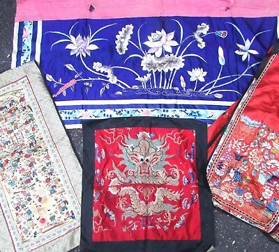 Antique Vtg Lot Chinese Asian Embroidered Silk Textile Panels Etc