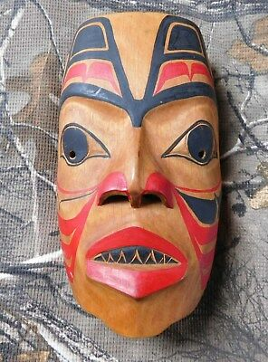 Pacific Northwest Coast Native Carved Shark Mask Indian Eskimo Canada By D. Leon