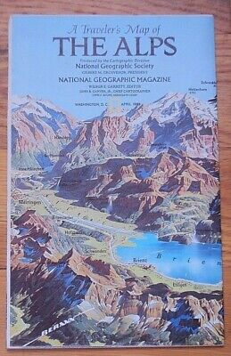 National Geographic April 1985 Traveler's Map of The Alps Auto Tours Alpine Tour