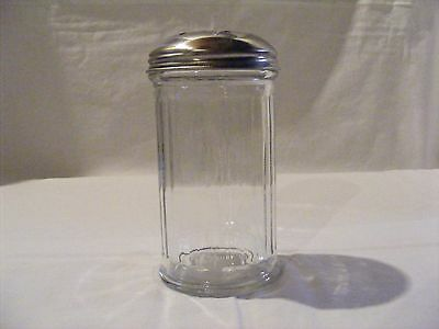Clear Glass Ribbed Cheese Shaker With Chrome Lid