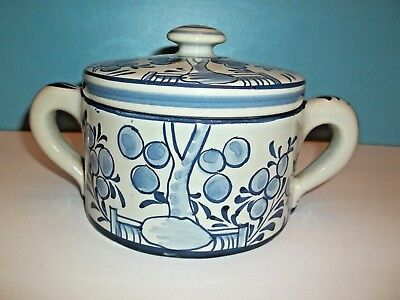 Mma,  Art Pottery Sugar Jar With Lid, Blue And White Design, Hand Painted