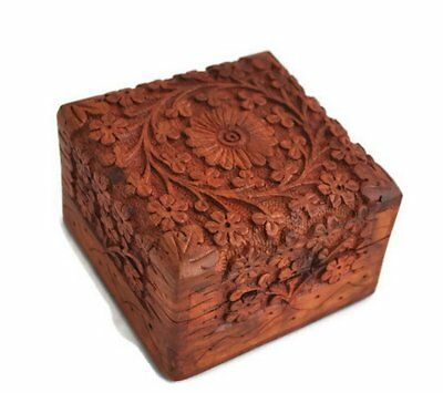 Wooden Jewelry Box Storage Vintage Small Treasure Chest Wood Crate Case India