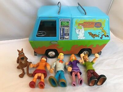 SCOOBY-DOO MYSTERY MACHINE VAN Ghost patrol WITH Action FIGURES Clean Free Ship