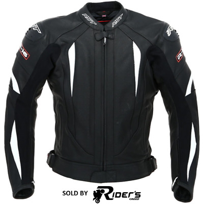 RST R-16 Leather Sports Motorcycle Motorbike Track Race Jacket Black/White