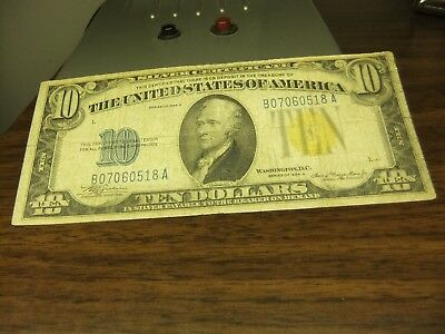 Us Old Paper Money-Ten Dollar Bill North Africa Yellow Seal 1934A Note