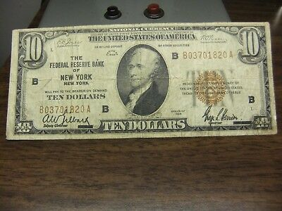 Us Old Paper Money-Ten Dollar Bill  National Currency 1929 Ny  Brown Seal Note