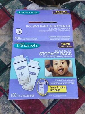 Lansinoh Breastmilk Storage Bags, 100 Count, BPA Free New In Little Ripped Box