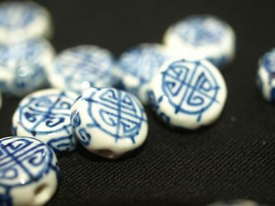 Pair of Vintage hand Painted Blue White Porcelain Chinese Bead Coin Shou 12mm