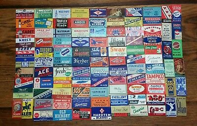 Lot of 100 Different Vintage Double Edge Safety Razor Blades Made in the USA