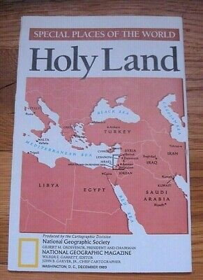 National Geographic December 1989 Map Holy Land One God Three Faiths Religions