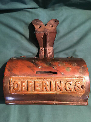 Large Vintage Brass Plate? Church Offerings Donation Collection Box HEAVY Iron