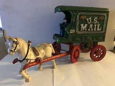 "Vintage Heavy Cast Iron US Mail 128 Wagon/Carriage With Horse & Driver 11""Long"